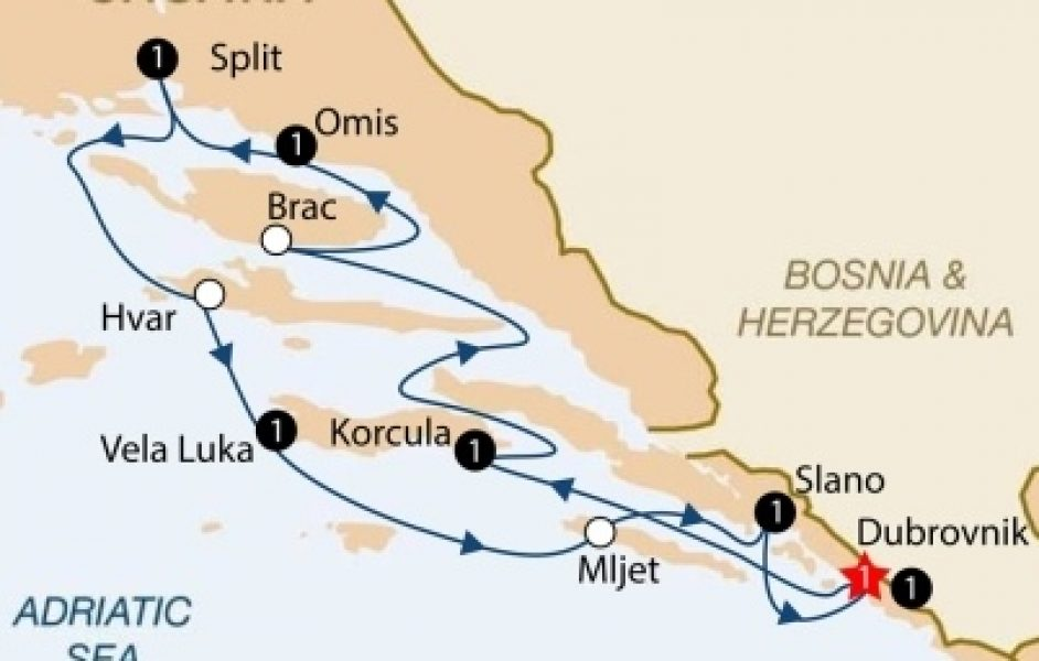cabin charter cruise from dubrovnik map
